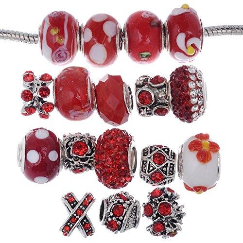 Rubyca Charm Perles de verre de Murano tibétain Cristal européenne Bracelet à breloques Mix Assortiment