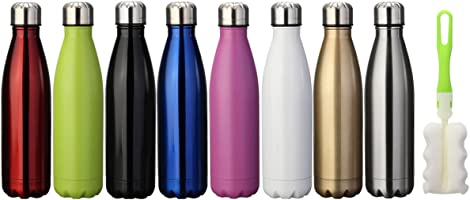 king do way Doppia Parete Bottiglia Termica per Vuoto in Acciaio Inossidabile per Mantenere Caldo e Freddo, con Spazzola...