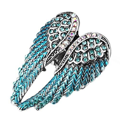 Cdet Damen Ring Offener Ring Diamant Flügel Legierungs Ringe Dekoration Zubehör Hochzeit/Geburtstag/Karneval/Party Zubehör Frau Ring (Mesh) (Blauer Diamant) -