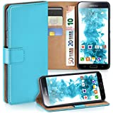Samsung Galaxy S5 Hülle Türkis mit Karten-Fach [OneFlow 360° Book Klapp-Hülle] Handytasche Kunst-Leder Handyhülle für Samsung Galaxy S5 / S5 Neo Case Flip Cover Schutzhülle Tasche