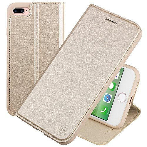 Nouske iPhone 7 Plus iPhone 8 Plus 5.5 Zoll Stand Hülle Etui with Karte Halterung Leder Wallet Klapphülle Flip Book Case TPU Cover Bumper Tasche Ultra Slim, Gold