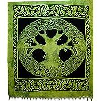 Celtica Green Tree Arazzo, indiano Hippie attaccatura di parete, Boemia copriletto, Mandala cotone Dorm Decor Beach Blanket