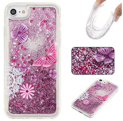 Ooboom® iPhone 5SE Coque Étui Cristal Clair TPU Silicone Gel Housse Bumper Cover Case avec Écoulement Bling Brillant Glitter - Ours Violet Violet Papillon