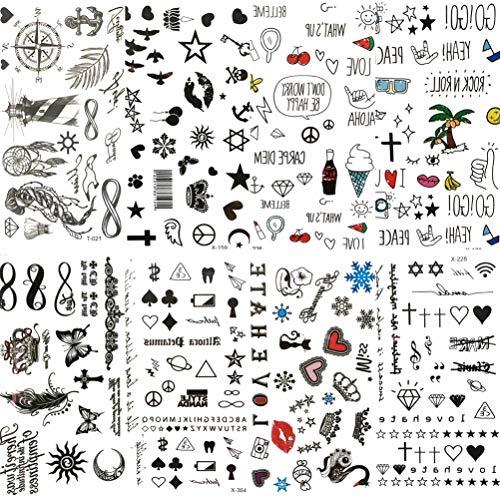COKTAK 8 Hojas Pequeños Labios Tatuaje Temporal de Dibujos Animados Negro Niños...