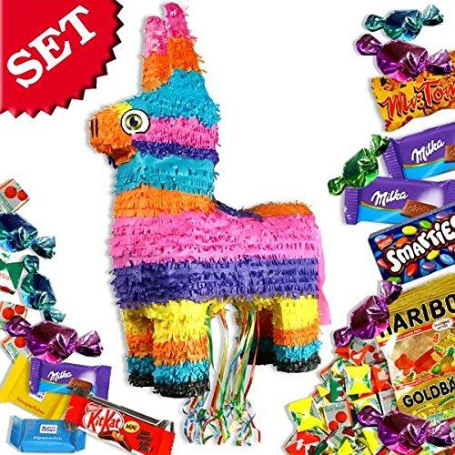 Zug- bzw. Pull-Pinata-Set bunter Esel, mit Pinata und Süßigkeitenfüllung