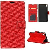 CASEWIN Funda Sony Xperia M2 Modelo Tejido de Cuero de la PU Carpeta de la Cartera Cubierta Magnética del Soporte del Tirón con Ranuras Para Tarjetas Marco de Fotos Para Sony Xperia M2 rojo