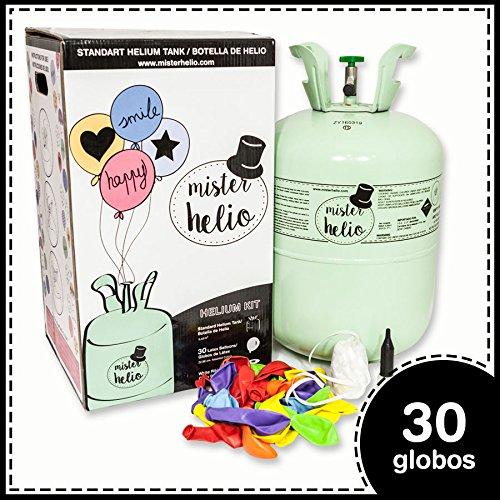 Bombona de Helio Desechable Mister Helio + 30 Globos de Latex. La botella de Helio más molona