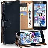 OneFlow Tasche für Nokia Lumia 630 / 635 Hülle Cover mit Kartenfächern | Flip Case Etui Handyhülle zum Aufklappen | Handytasche Schutzhülle Zubehör Handy Schutz Bumper in Schwarz