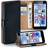 moex Nokia Lumia 630 | Hülle Schwarz mit Karten-Fach 360° Book Klapp-Hülle Handytasche Kunst-Leder Handyhülle für Nokia Lumia 630/635 Dual SIM Case Flip Cover Schutzhülle Tasche