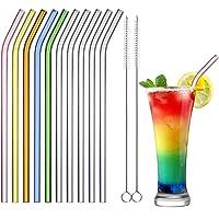 ecooe Pailles en Verre,Incurvé Pailles Réutilisables Sans BPA,10 Transparentes Pailles à Boire Coloré 0.8*21.5cm+2…