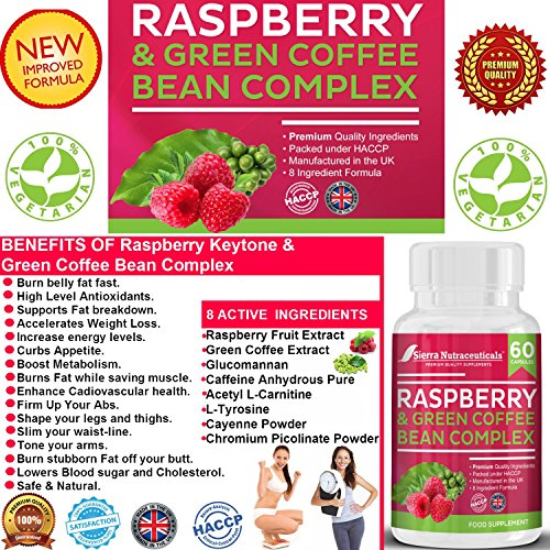#1 Raspberry Ketones and Green Coffee Bean Complex Combo plus Glucomannan ★A Powerful combination that breaks down belly fat FAST For Men & Women ★ Block the production of fat FAST ★ Promote Weight Loss - Fat Burner★ Pure, Potent,and of the highest strength on the market for weight loss.★ 8 Active Powerful Ingredients to burn your belly FAT FAST.★ Made in the UK and HACCP Certified.