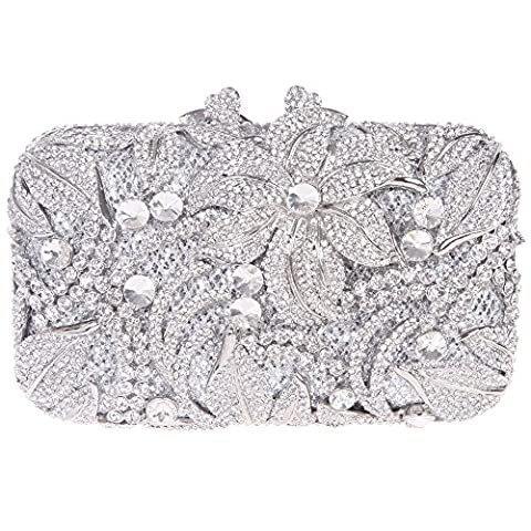 Santimon Women Clutch 3D Diamond Lilies Flower Purse Evening Bags with Removable Strap and Gift Box