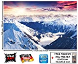 GREAT ART Fototapete - Alpen Panorama - Wandbild Dekoration Winter Sonnenuntergang Schnee Landschaft Natur Berge Gletscher Gebirge Gipfel Foto-Tapete Wandtapete Fotoposter Wanddeko (210x140 cm)