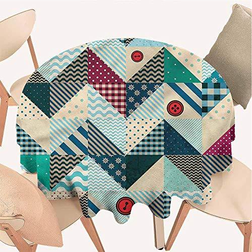 Petpany Tischdecke mit Grasmuster, rund, Zickzack-Muster, Zickzack- und Rautenmuster, Tischdecke mit Muster Bedruckt, für Küche und Esstisch, Vinyl, Color15, D36 inchs