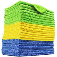 24 Pack Microfiber Cleaning Cloth, Extra Thick Microfiber Towel Absorbent Dust Cloths Lint Free Cloth for Car Kitchen Window 20x20cm