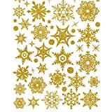 NiceButy Creative Shiny Christmas Snowflake Wall Sticker Removable Window Door New Year Sticker PVC Sticker Home Decoration Gold