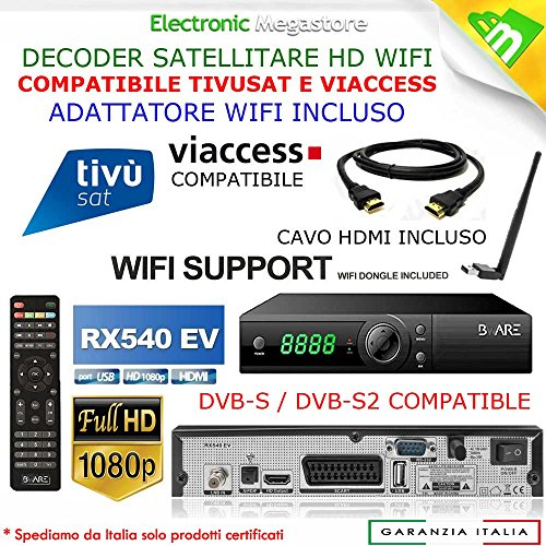 Decoder Satellitare HD compatibile con tessera Tivusat è con tessere Viaccess Digiquest Bware RX540EV