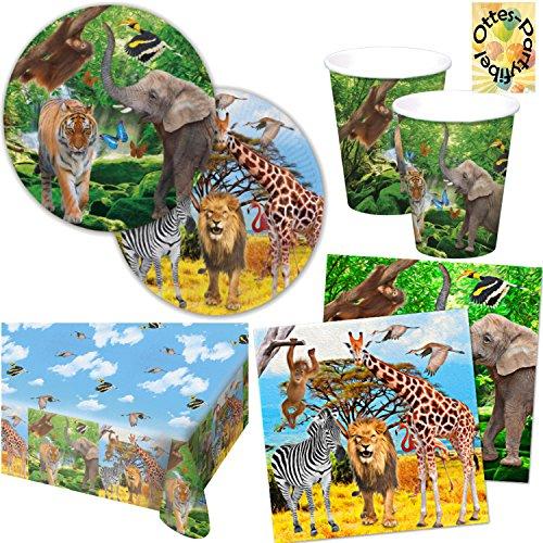 HHO Safari-Party Elefant Tiger Zebra Wildtiere Partyset für 16 Kinder Teller Becher Servietten Tischdecke 53 Teile (Geburtstag Geschirr 16.)