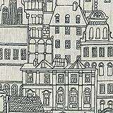 Leinenstoff | Die Dächer von Paris - Schwarze Tinte auf