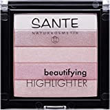 SANTE Naturkosmetik Beautifying Highlighter, 02 Rose, 5 Pudernuancen, Bio-Extrakte & Macadamiaöl, Natural Make-up, 7g