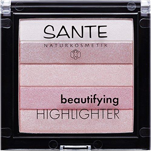 SANTE Naturkosmetik Beautifying Highlighter, 02 Rose, 5 Pudernuancen, Bio-Extrakte & Macadamiaöl, Natural Make-up, 7g