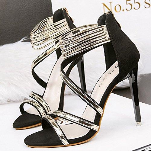 Oasap Women's Fashion Peep Toe Stiletto Heels Ankle Strap Sandals Black
