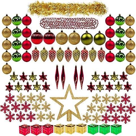 itart 100piezas de bolas para el árbol de Navidad decorativo adornos irrompibles varios bolas