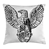 Vintage Throw Pillow Cushion Cover, Italian Rome Heraldry Eagle Statue Pattern European Empire Heritage Culture Print, Decorative Square Accent Pillow Case, 18 X 18 inches, Black White