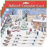 Alison Gardiner Pack de 4 Calendarios tradicionales de Adviento - Navidad Tarjetas de la Villa