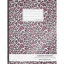 """Kariertes Notizbuch • A4-Format, 100+ Seiten, Soft Cover, Register, Mit Rand, """"Pinkes Leopardenmuster"""" • Original #GoodMemos Quad Ruled Notebook • ... Matheheft, Skizzenbuch, Notizheft, Tagebuch"""