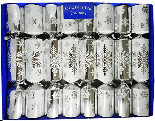 Set of 8 Silver Snowflake Christmas Crackers with Nativity Decorations by Crackers Ltd - Tree Set Nativity Christmas