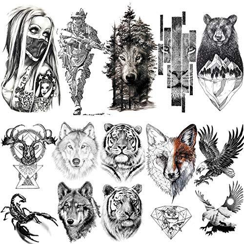 LAROI 10 Hojas 3D Grande Realista Cara Tigre