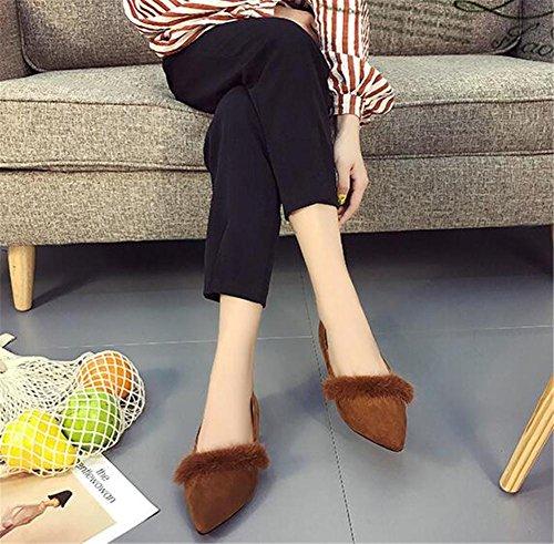 Femmes Chaussures Velours Fermé-Toe Mocassins Plat Ballerine Taille 35To39 Brown