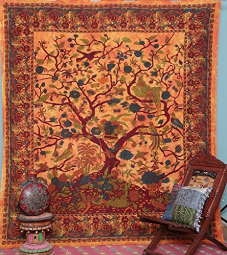 Handicrunch Orange indische Baum des Lebens Tagesdecke Blossom Vogel Tapestry - Block Bedruckten Baumwollbettlaken