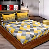 #9: Loreto 144 TC Premium Mix and Match Collection 1 Double Bedsheet With 2 Pillow Cover, Multi Colour