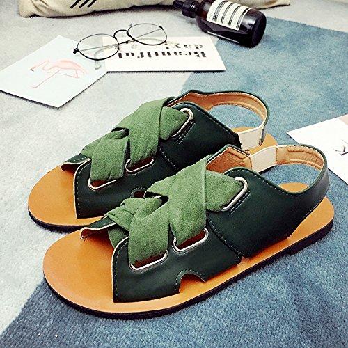 Rugai-ue Sandales D'été Femme Bretelles Croisées Retro Army Green Shoe