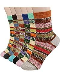 Philonext Calcetines para mujer de 6 pares - calcetines de lana gruesos de invierno en frío