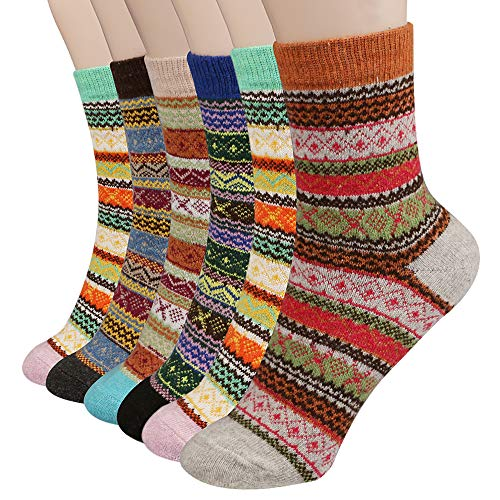 6 Pairs Womens Crew Socks - Vintage Winter Soft Warm Thick Cold Knit Wool Socks - Christmas Colorful Cotton Socks Gift