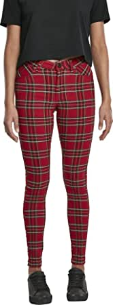 Urban Classics Ladies Skinny Tartan Pants Pantaloni Donna