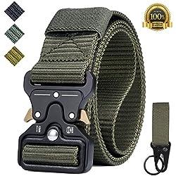 Cinturón Táctico, Tenine Cinturón Militar de Nailon de 1.5 Pulgadas Táctico Resistente con Correa de Metal de Liberación Rápida Para Equipo EDC Molle Táctica Cinturón (Ejercito Verde)