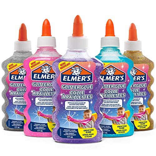 Elmer's colle pailletée, lavable et adaptée aux enfants, 5 flacons de 177 ml - Bleue, Argent, Rose, Violette, Or - Idéale pour fabriquer du slim