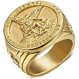 BOBIJOO Jewelry Bague Chevali/ère Homme Croix Saint Beno/ît Protection D/émon Acier Plaqu/é Or Brut