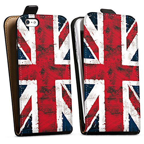 Apple iPhone 6s Hülle Case Handyhülle Grossbritannien Flagge Union Jack - Grunge Downflip Tasche schwarz
