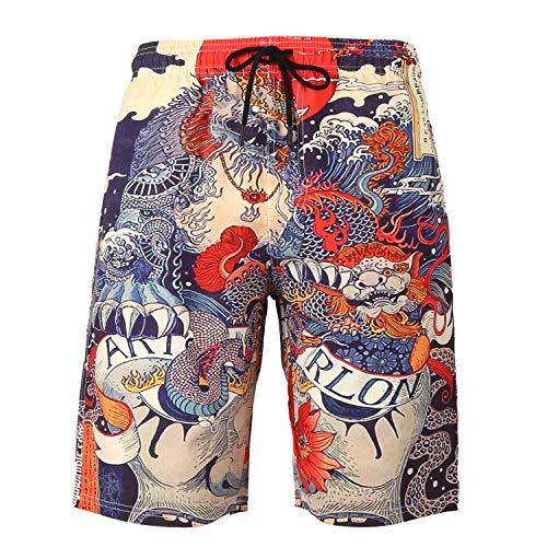 URVIP Badeshorts für Herren Jungen Schnelltrocknend Leicht Badehose Schwimmhose Männer Beachshorts Boardshorts Strand Shorts Multi-102 6XL