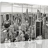 Feeby Leinwandbild - 5 Teile - Bilder Wand Bild Wandbilder Kunstdruck XXL, 5-Teilig, Typ C, 250x120 cm, Empire State Building, New York, Architektur, Schwarz-Weiß