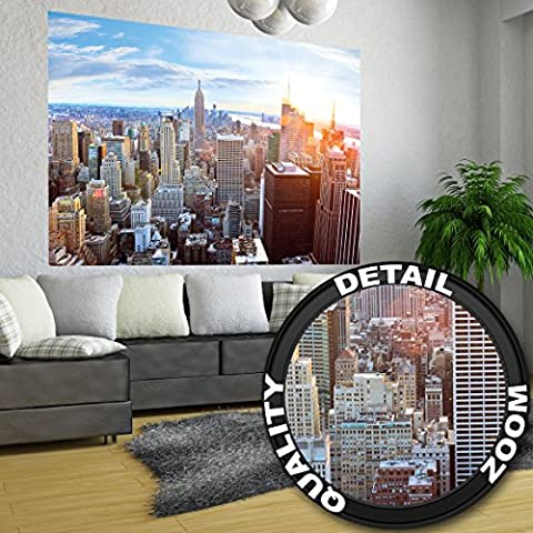 XXL Poster New York City Skyline - wall picture decoration sundown Penthouse view Manhattan America USA décor Big Apple NYC | Wallposter Photoposter wall mural wall decor by GREAT ART (55 Inch x 39.4 Inch/140 cm x 100 cm)