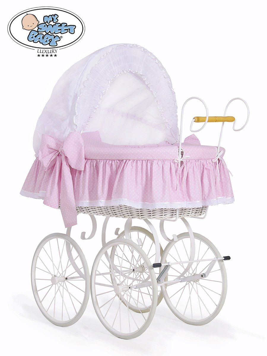 NEW LUXURY RETRO - VINTAGE WHITE WICKER CRIB / MOSES BASKET, WHITE METAL CHASSIS STAND, WHITE & PINK POLKA DOT BEDDING & MATTRESS  BRAND NEW MY SWEET BABY LUXURY RETRO - VINTAGE WICKER CRIB / MOSES BASKET, SOLID METAL CHASSIS STAND, QUALITY WHITE & PINK POLKA DOT BEDDING SET + BRITISH MADE MATTRESS Dimensions: L 108cm, W 65cm, H 93/140 cm - suitable from birth to approx.9 months *All elements of bedding and mattress cover can be easily removed and mechanically washed. **Outer fabric is certificate of quality and safe textiles of ÖKO-TEX certificate. 1