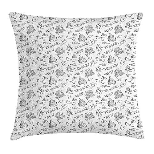 K0k2t0 Wedding Throw Pillow Cushion Cover, Monochrome Festive Day Illustration with Ornate Cake Hearts and Floral Bouquets, Decorative Square Accent Pillow Case, 18 X 18 inches, Black White Ornate Wedding Cake