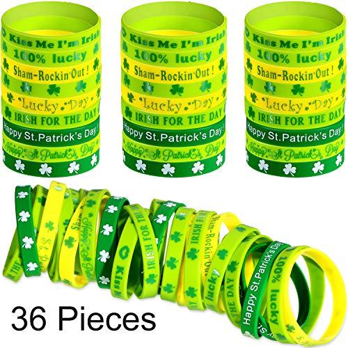 Chengu 36 Stücke Shamrock Armbänder Grüne Gummi Armbänder Silikon Irische Armbänder für St. Patrick's Day Irish Thema Party Bevorzugen