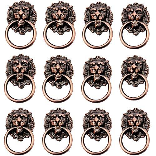 12pcs Möbelknopf Möbelgriff Möbelgriffe Möbelknöpfe Griff Knopf Ring Antik Löwe Schrankgriff Ziehgriff,Schrank Schublade Ziehen Griff TürKnopf,Vintage Pull Griffe Knöpfe